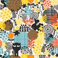 Colorful abstract floral seamless pattern crazy black cat with flowers Royalty Free Stock Images
