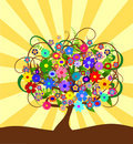 Colorful abstract flower tree om a sunny day Royalty Free Stock Photo