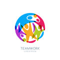 Colorful abstract happy people in circle shape. Vector logo, emblem design template. Royalty Free Stock Photo