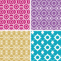 Colorful abstract lineart geometric seamless vector patterns set in matching color scheme Royalty Free Stock Photo