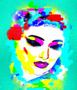 Colorful, abstract pop art image of woman`s face with flowers in hair. Royalty Free Stock Photo