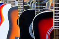 Colorful acoustic guitars Royalty Free Stock Photo