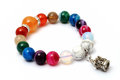 Colorful of agate,jasper bracelet decoratAe with silver crown pendant