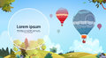 Colorful Air Balloons Flying In Sky Over Summer Landscape