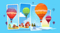 Colorful Air Balloons Flying In Sky Over Summer And Winter Snow Landscape