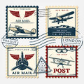 Colorful Aircraft Postage Square Stamps Set Royalty Free Stock Photo