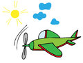 Colorful airplane with sun and sky Royalty Free Stock Photo
