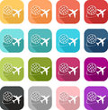 Colorful airplane and travel icon