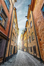 Colorful Alley with Cobblestone Royalty Free Stock Photo