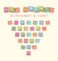 Colorful alphabet blocks baby blocks font Royalty Free Stock Photo