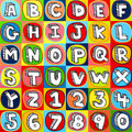 Colorful Alphabet Letters and Numbers Stock Image