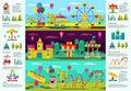 Colorful Amusement Park infographic Banners