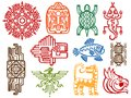 Colorful ancient mexican vector mythology symbols - american aztec, mayan culture native totem