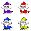 Colorful angry santa clauses purple yellow red and blue on a white background Stock Photo