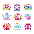 Colorful anniversary birthdays festive signs set, elements collection