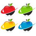 Colorful apples with swoosh graphic elements Royalty Free Stock Image