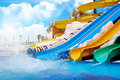 Colorful aqua park constructions Stock Image