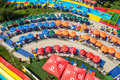 Colorful aqua park mamaia romania august umbrellas at in with an area of ​​ square feet of fun slides pools and Royalty Free Stock Photography