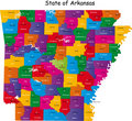 Colorful Arkansas map Stock Photos