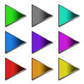 Colorful arrow buttons over white Stock Photography