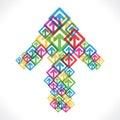 Colorful arrow move up icon design