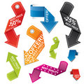 Colorful arrow shaped price tag set Stock Image