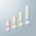 Colorful arrows with gears chart infographic design on the grey background eps file Stock Image