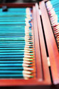 Colorful art pencils in a wooden case Royalty Free Stock Photo
