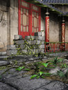 Colorful asian building with vines and green plants Royalty Free Stock Photography