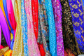 Colorful Asian fabrics Royalty Free Stock Image