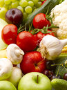 Colorful assorted fruits and vegetables various vibrant color Royalty Free Stock Photography