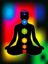 Colorful aura with all chakras of body Royalty Free Stock Photos