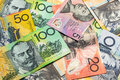 Colorful of Australian dollars background. Royalty Free Stock Photo