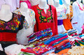 Colorful authentic mexican women blouses on manekens at the mark mannequins market Stock Image