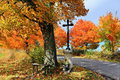 Colorful autumn landscape with jesus blue sky and Royalty Free Stock Photo
