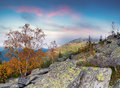 Colorful autumn landscape in the mountains sunrise Stock Images