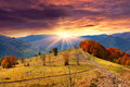 Colorful autumn landscape in the mountains sunrise Royalty Free Stock Photo