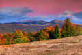Colorful autumn landscape in the mountains sunrise Stock Image