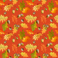 Colorful Autumn Leaves Background - Seamless Pattern Royalty Free Stock Photo