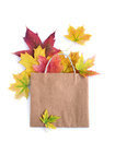 Colorful autumn leaves in a brown craft bag Royalty Free Stock Photo