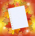 Colorful autumn maple leaves with note paper Royalty Free Stock Photos