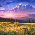 Colorful autumn morning in the mountains sunrise Royalty Free Stock Image