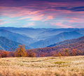Colorful autumn morning in the mountains sunrise Stock Image