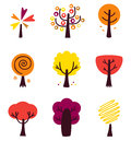 Colorful Autumn Vector Trees set isolated on white