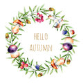 Colorful autumn wreath with autumn leaves,flowers,branch,berries,acorn,mushrooms Royalty Free Stock Photo