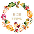 Colorful autumn wreath with autumn leaves,flowers,branch,berries Royalty Free Stock Photo