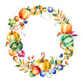 Colorful autumn wreath with fall leaves,branches,berry
