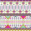 Colorful aztec seamless pattern on white background. Ethnic abstract geometric texture. Hand drawn navajo fabric. Aztec Pattern Tr