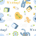 Colorful baby boy seamless pattern vector illustration Stock Photos