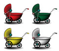 Colorful baby carriages Stock Image